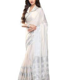 Buy White and Silver plain cotton saree with blouse cotton-saree online