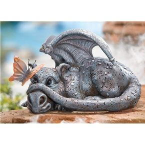 Shy Baby Dragon Garden Statue
