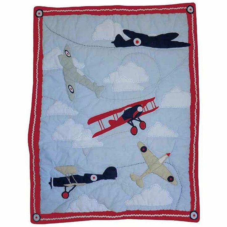 Boys room - vintage aeroplane nursery cot quilt by marquis & dawe   notonthehighstreet.com