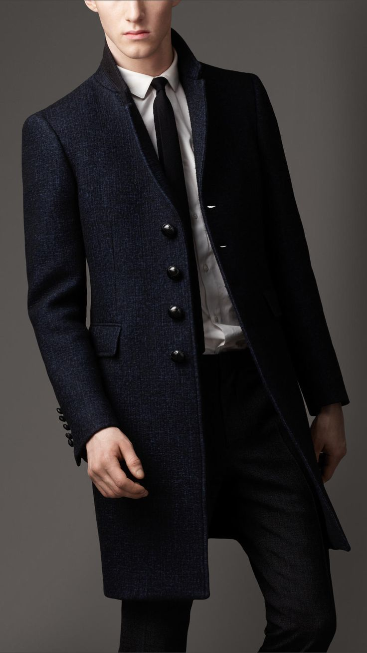 Burberry Felted Wool Tailored Top Coat in Blue for Men (navy blue) | Lyst