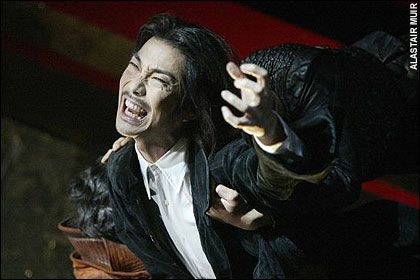 Mansai Nomura, Sadler's Wells, 2005 Another Japanese actor, who played Hamlet as a gibbering nutter and Jackie Chan-style martial arts specialist. He peppered the soliloquies with amazing squawks and squeaks.