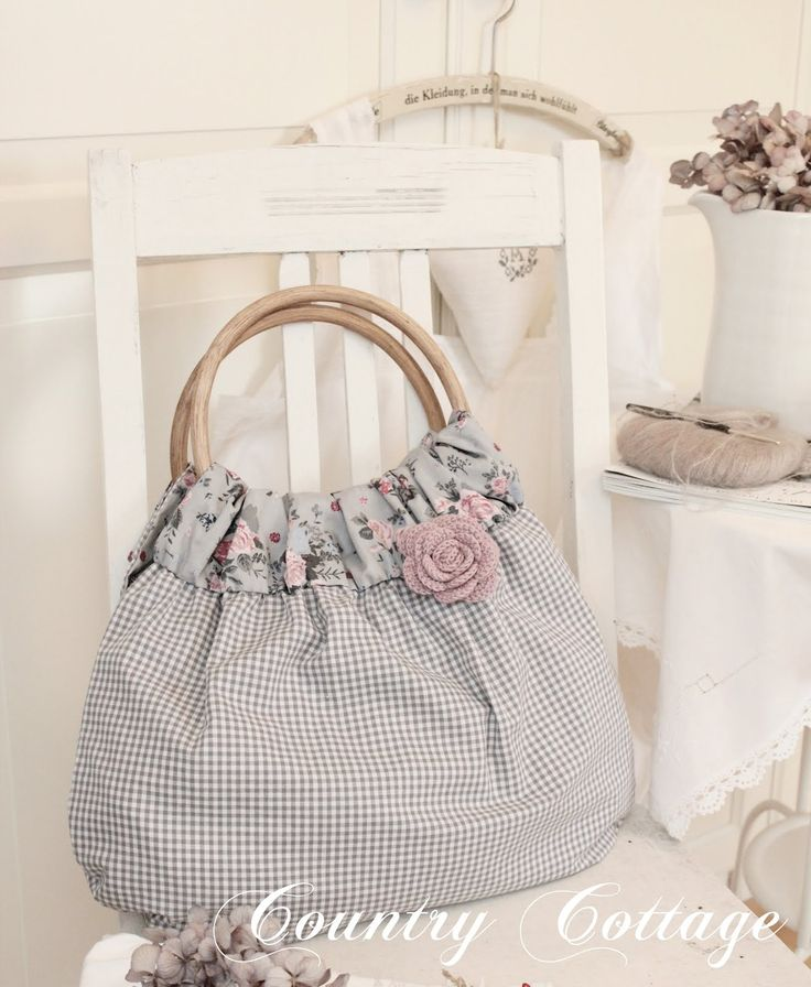 cute shabby chic bag / purse blue grey pink gingham with floral