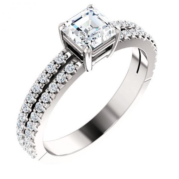 Asscher Cut Diamond Split-shank Side Engagement Ring