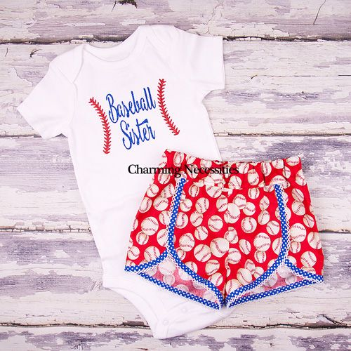 Baseball Sister Glitter Top and Retro Shorts set- Baby Toddler Girl Boutique Clothes by Charming Necessities Baseball Sister Fan Mom