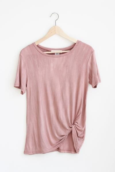 Details Size Shipping • 95% Rayon 5% Spandex • Soft loose fit tee with side knot detail and stone wash look. • Hand Wash • Line dry • Imported • Measured from s
