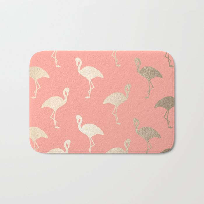 Buy Gold Flamingo Pattern Coral Pink Bath Mat by followmeinstead. Worldwide shipping available at Society6.com. Just one of millions of high quality products available.