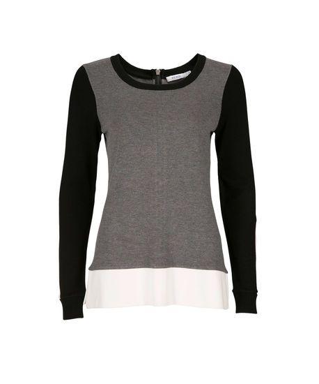Mixed Media Colourblock Pullover in Black / Grey / Ivory #rickis #fall2014