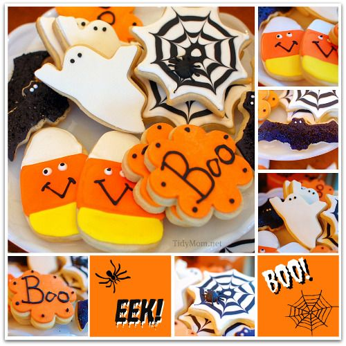 Halloween Butter Cookies with Royal Icing and Fondant - locve these, the candy corn is especially adorable