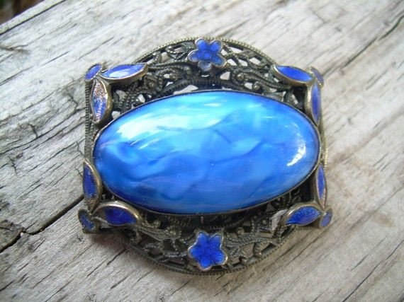 Antique Cobalt Blue brass Brooch beautiful with hand by Andraliz