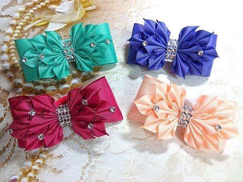 Яркие бантики резинки из лент канзаши МК / hair clips ribbon kanzashi DIY - YouTube