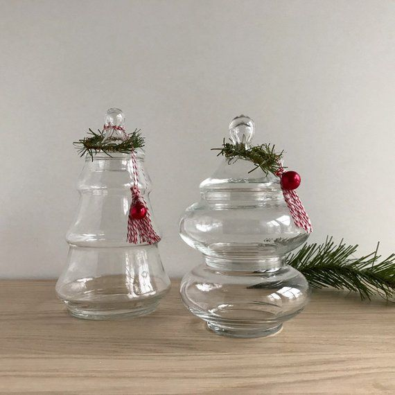 Clear Glass Apothecary Jars Christmas Tree Jar Stackable Glass Bowls With Lid Tree Shaped Christmas Christmas Tree Jar Christmas Jars Glass Apothecary Jars