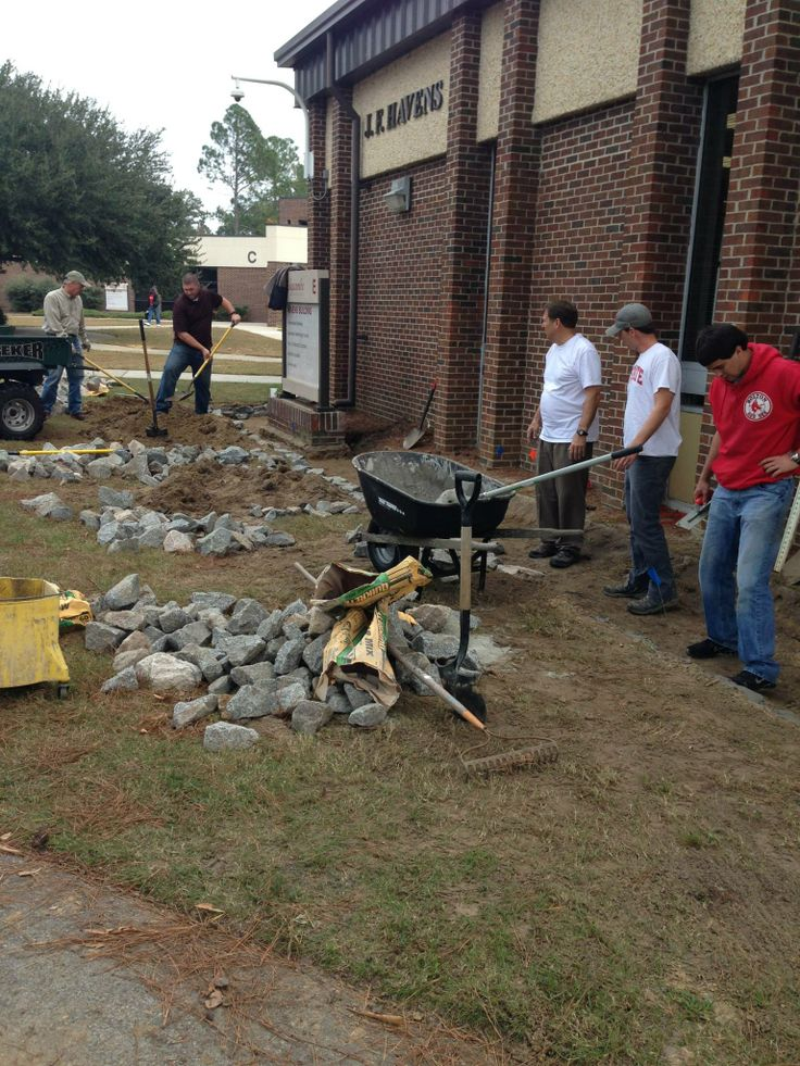 Laying cement for the #raingarden at Edgecombe Community College #ptrf ptrf.org