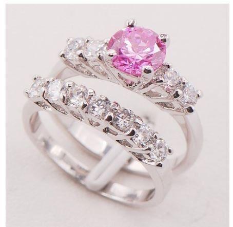 cena 48 zł nr art 721 Różowy Sapphire 925 Sterling Silver Fashion Pierścionek Rozmiar 6 7 8 9 10 11 F708  Opis Materiał: Srebro Wypełniony 925