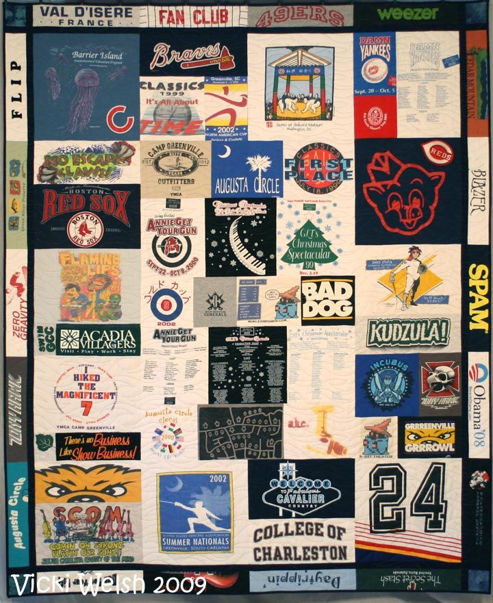 Tshirt quilt with the chest logos as the border