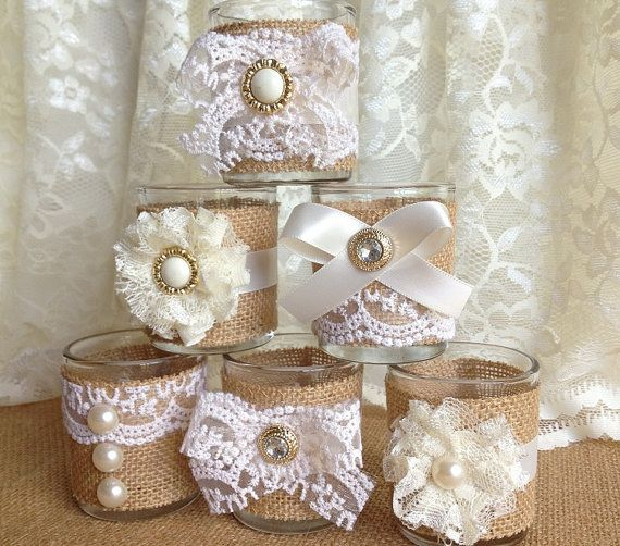 6 burlap and lace 10 hour tea candles wedding or bridal shower decorations