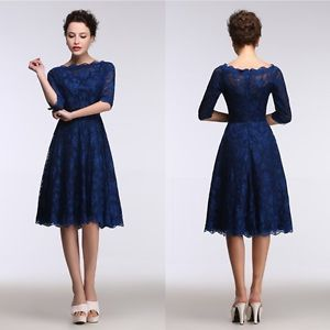 New Short Navy Lace Bridesmaids Dress Evening Party Formal Half Sleeve Mini Gown