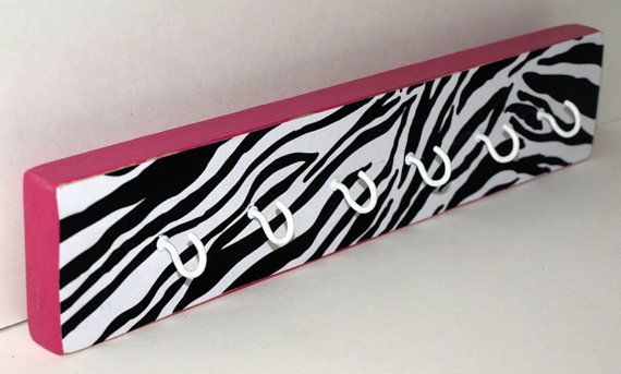 Hot Pink Zebra Printed Key Chain Hooks/Necklace Hanger/Necklace Organizer/Key Chain Organizer/Black and White Zebra/Girls Room Decor