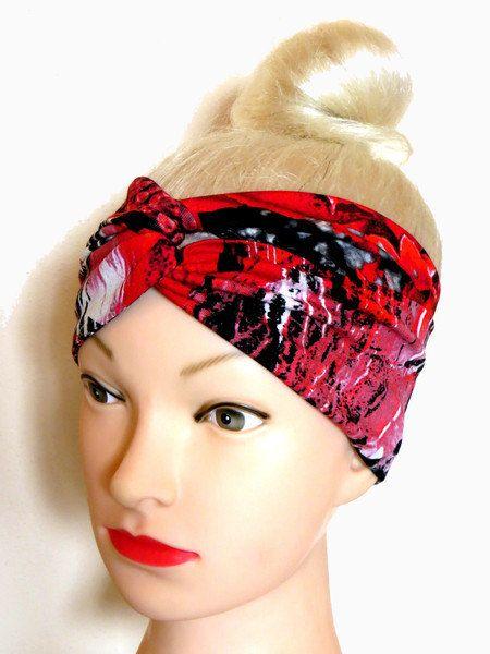 Bandeau Turban Jersey Rouge Noir Bandeau cheveux par ragazzamagica