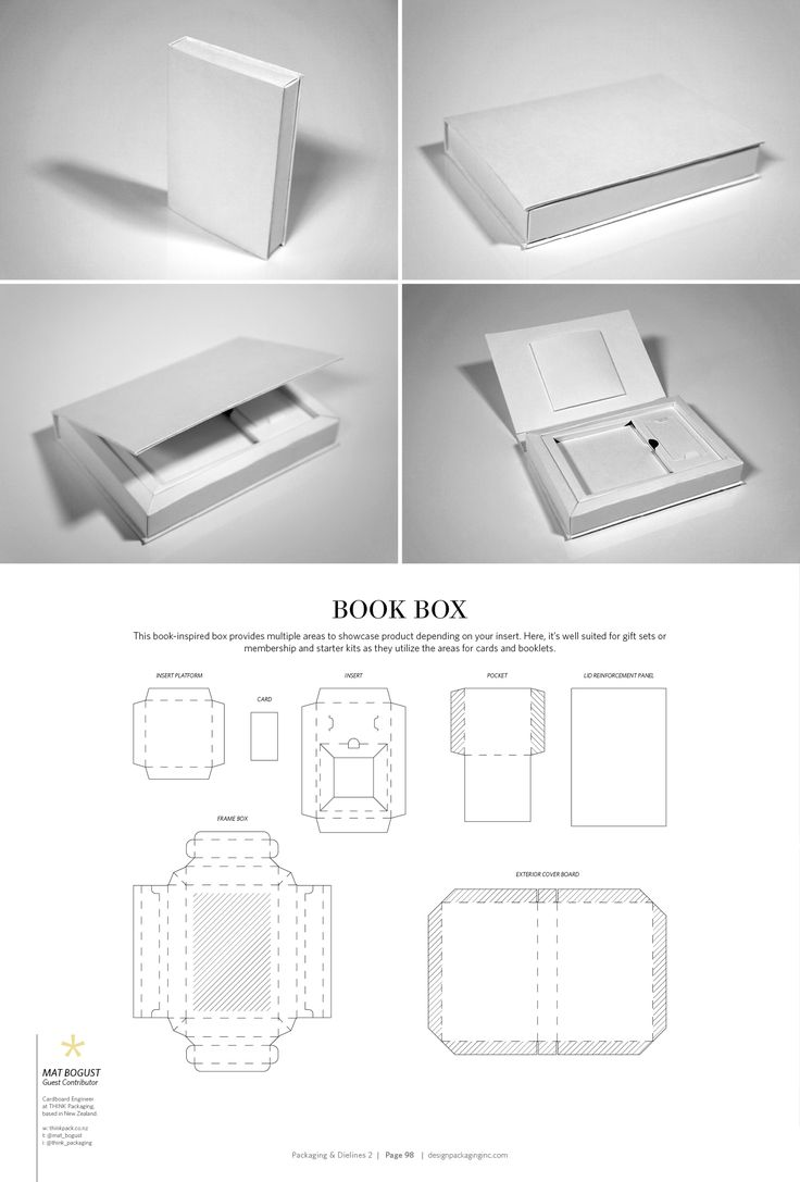 Book Box – structural packaging design dielines