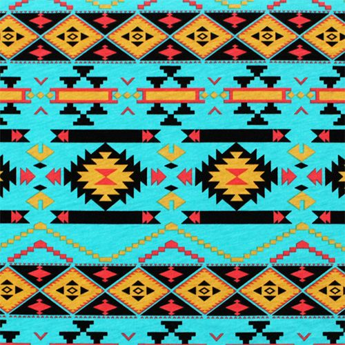 Blue Tribal Wallpapers: Mustard Coral Navajo On Turquoise Cotton Jersey Blend Knit