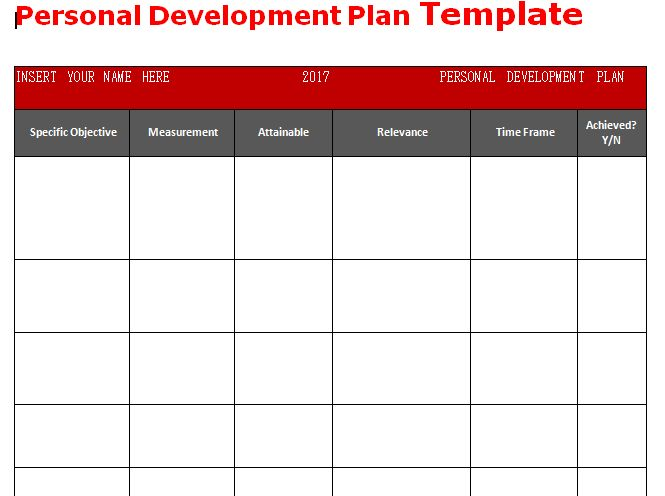 personal development plan template pdf
