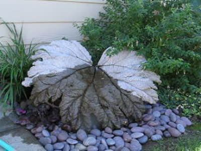 Hypertufa Gunnera Leaf Water Feature Possibly Concrete