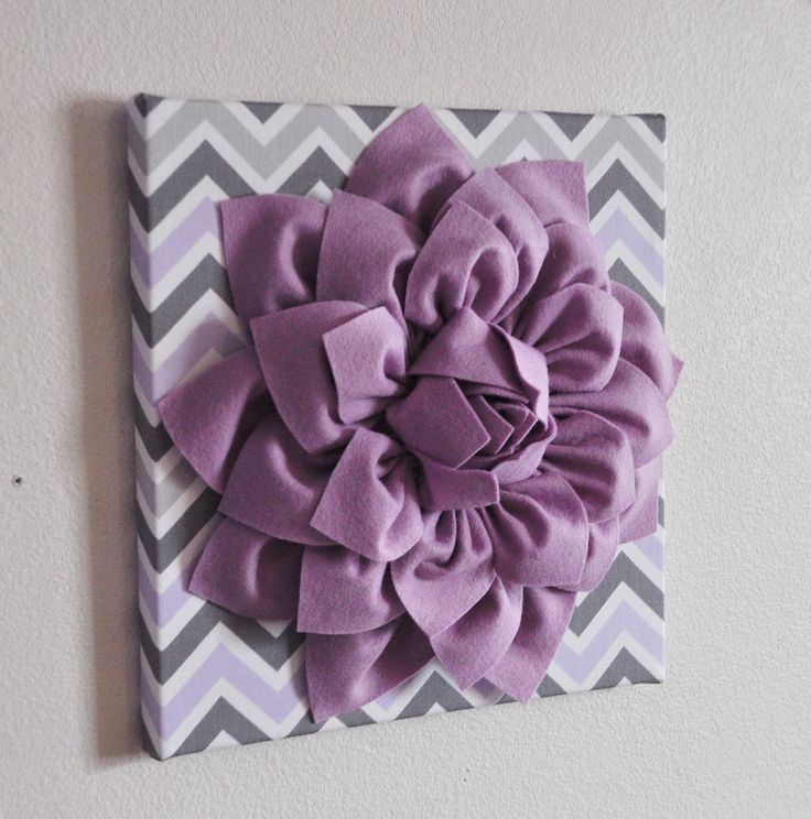 "Baby Nursery Wall Decor -Lilac Dahlia on Lilac and Gray Chevron 12 x12"" Canvas Wall Art- Purple Wall Art by bedbuggs on Etsy"