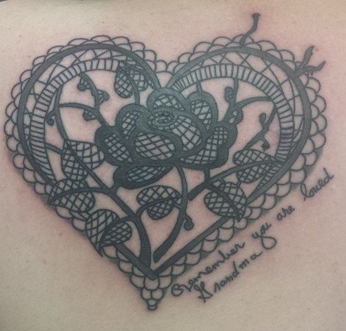 Lace heart Tattoo | lace-heart