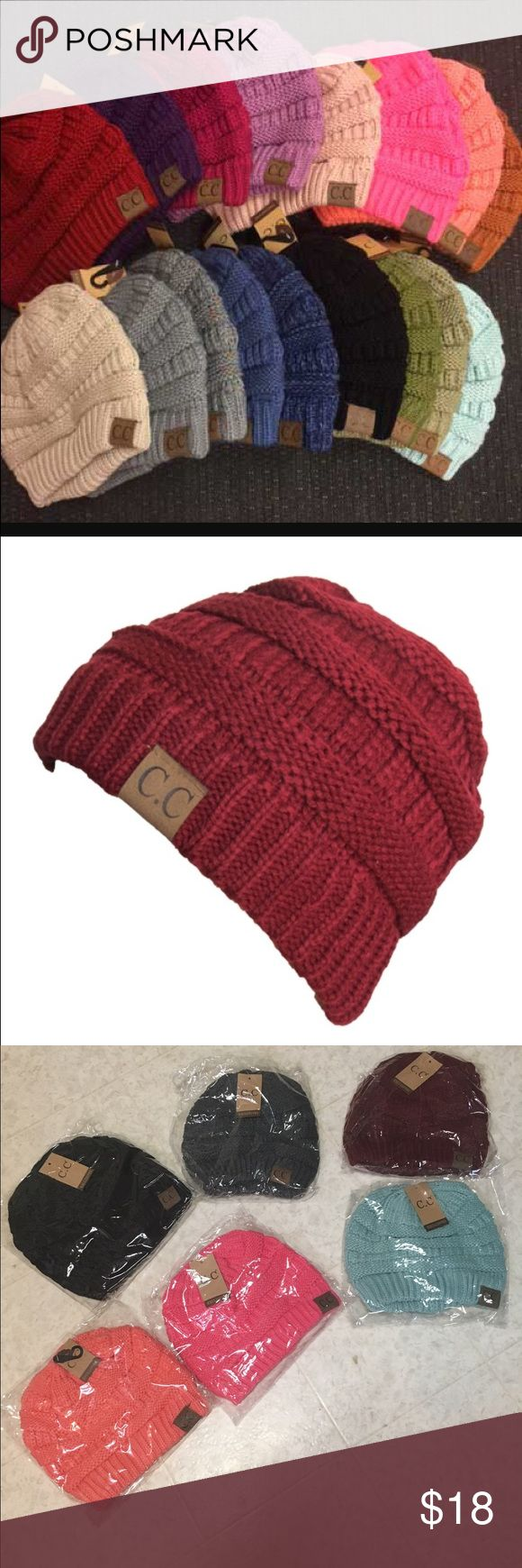 Maroon / burgundy C.C. Beanie. ****Listing is for one maroon cc beanie**** NEW! Last pic it's the top right dark color, C.C. Accessories Hats