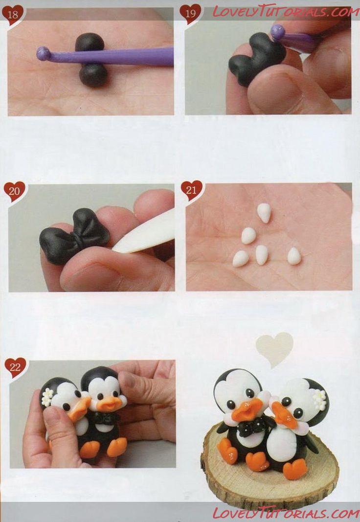 Adorable Polymer Clay Penguin Wedding Couple