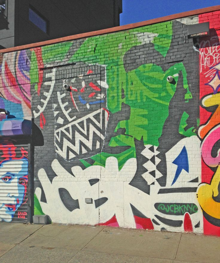 Street art work in Brooklyn, New York City. Graffiti is widespread - with many murals, wheatpastes and stencils.
