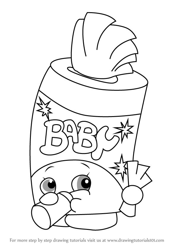How To Draw Baby Swipes From Shopkins Step By Learn Drawing This Tutorial For Kids And Adults