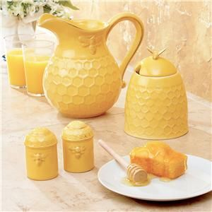 bumble bee pitcher, honey pot and salt & pepper shakers