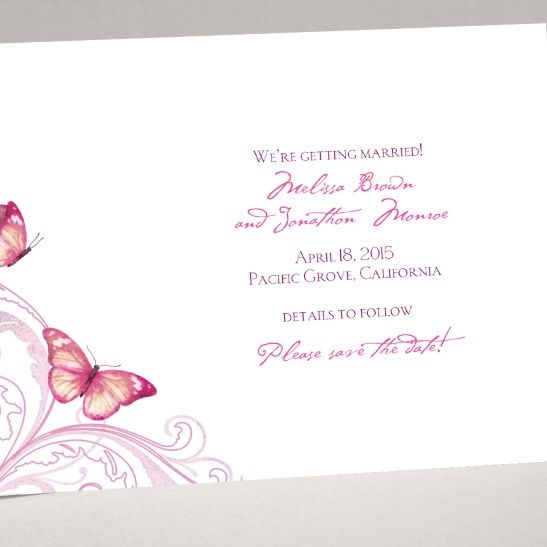 Delicate Butterfly - Fuchsia Save the Date Card | Invitations By Dawn