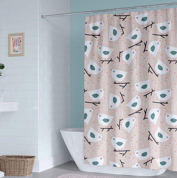 Birds Kids Shower Curtain Beige Girl Shower Curtain Peach Shower