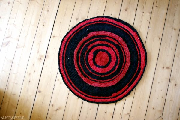 Crocheted rug from old t-shirts.