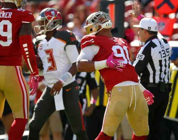 Buccaneers vs. 49ers:     October 23, 2016  -  34-17, Buccaneers  -   San Francisco 49ers' Arik Armstead (91) celebrates a sack against Tampa Bay Buccaneers starting quarterback Jameis Winston (3) in the first quarter of an NFL game at Levi's Stadium in Santa Clara, Calif., on Sunday, Oct. 23, 2016. (Nhat V. Meyer/Bay Area News Group)