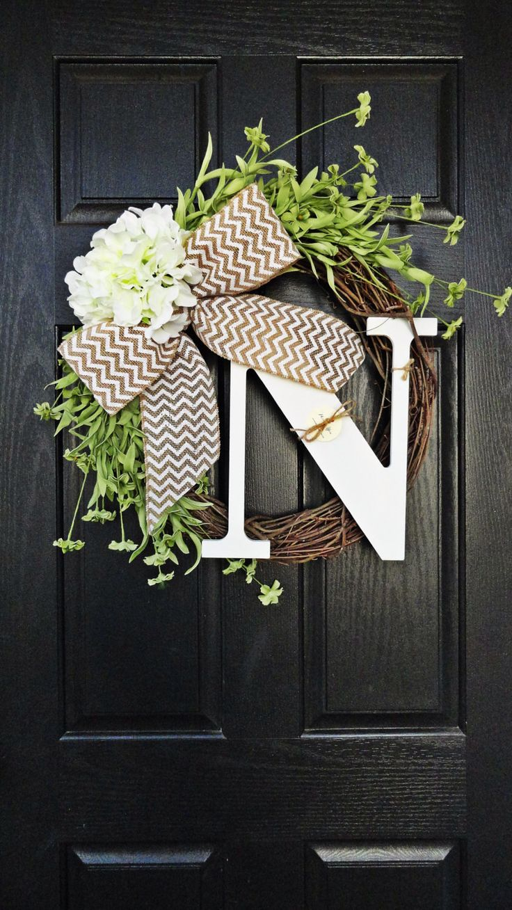 Spring and Summer Wildflower, Hydrangea, and Chevron Burlap Wreath With White Monogram, Spring Hydrangea Wreath. Year Round Wreath by AnnabelleEveDesigns on Etsy https://www.etsy.com/listing/174815881/spring-and-summer-wildflower-hydrangea