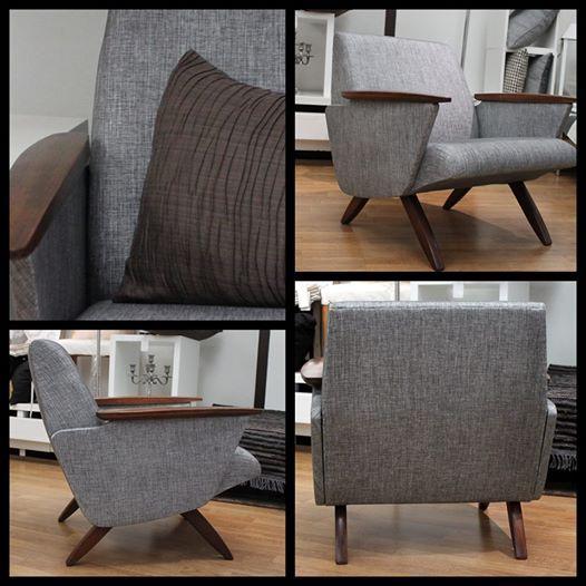 Kuva: Salo Designissa uusi erikoinen vintage nojatuoli ja löytyypä niitä jopa kaksin kappalein.Sarjaa täydentämään löytyy vielä sohvakin.  Tämä upea 50-luvun virtaviivainen design nojatuoli sai uuden ilmeen metallinhohtoisesta Designers Guildin Shima kankaasta.  Tuolin uudet upeat verhoilut on toteuttanut Heta verhoomo Hedvigistä.