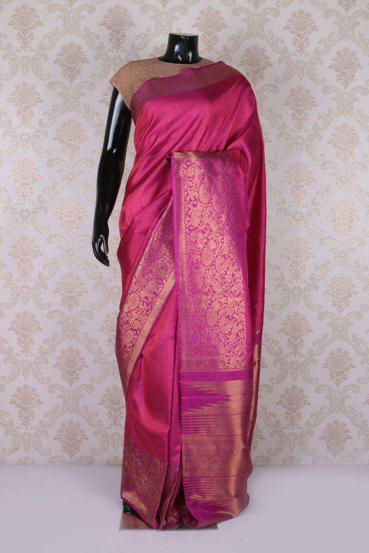 Metallic pink weaved kanchipuram silk fashionable saree with violetish pink & gold border -SR11579