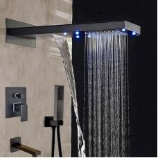 "3-Way LED 22"" Rain Shower Faucet Set Bathroom Tub Mixer Valve Tap Wall Mounted"