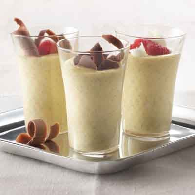 Serve this homemade vanilla custard in small glasses for the perfect mini treat on a dessert buffet.