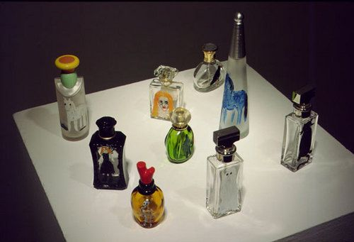 Jenny Watson Perfume, 2001 oil paint, perfume bottles dimensions variable Set of 9