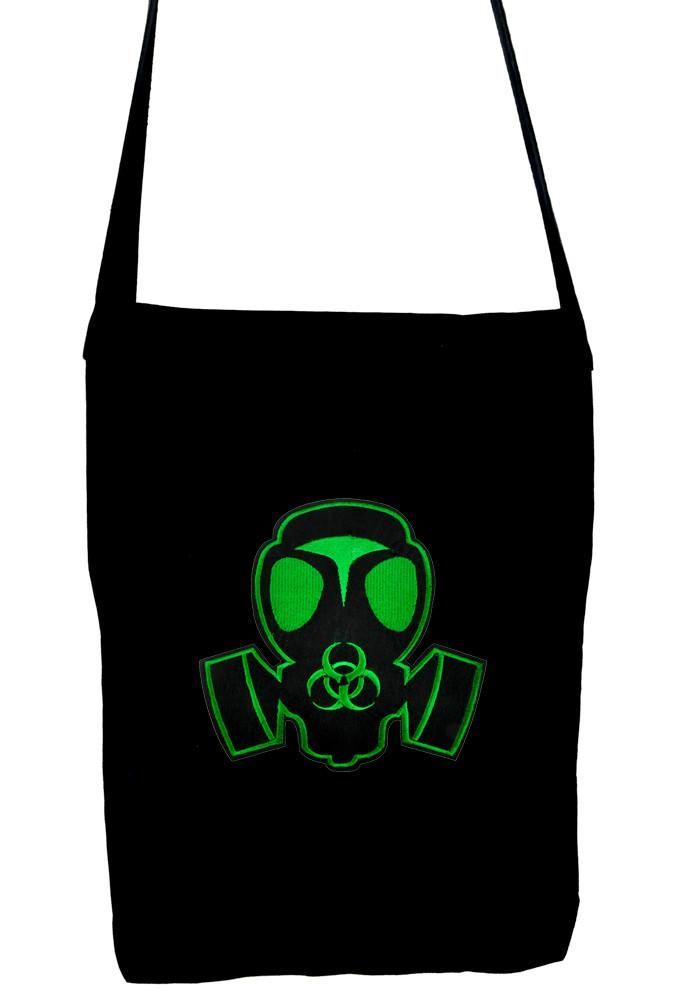 Green Gas Mask on Black Sling Bag Bio Hazard Black Ops Book Bag  #oi #rock #gothic #metalhead #witchy #witch #rave #gothicvictorian #darkgirl #vampire