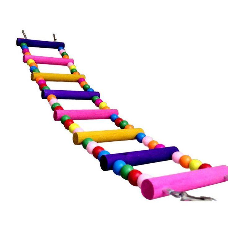 Pet Bird Toys Wood Ladder Climb Parrot Macaw Cage Swing Shelf Parrot Bites Play brinquedo FEN#