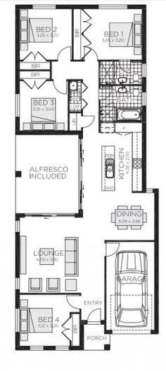 Plano casa de una planta de 178 metros cuadrados