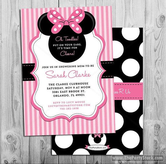 Minnie Mouse Baby Shower Invitation | Printable Baby Shower Invite | Pink Black | Girl Baby Shower | DIY Decorations Available in our Shop