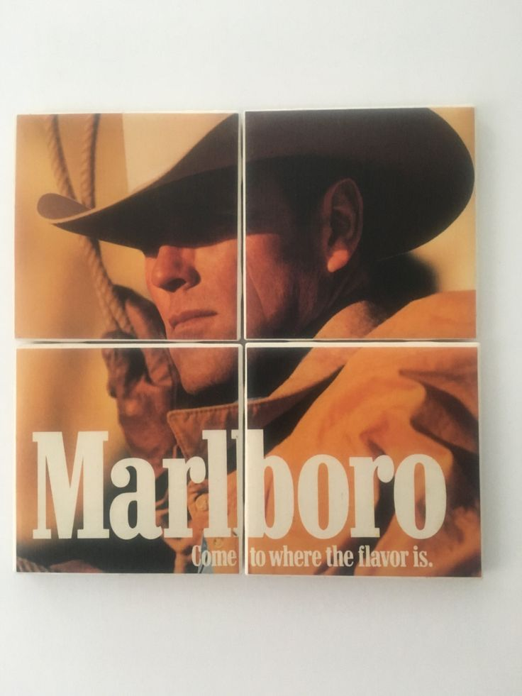 Set of 4 Ceramic Hot and Cold Drink Beverage Coasters with Felt Backing featuring iconic and classic MARLBORO AD from Playboy Magazine 1969 by UpcyclingIt on Etsy