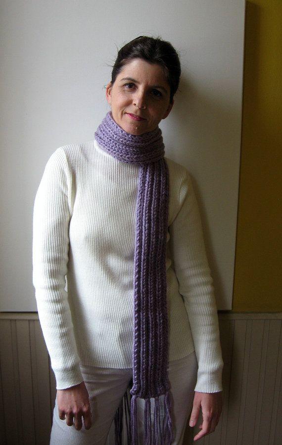 Lavender Wool Chunky Knit Scarf Long Hand Knit Man Scarf by branda