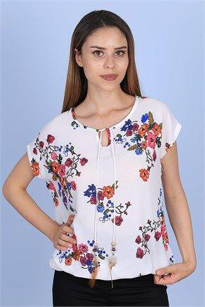 Çiçekli Yarım Kol Bluz 1745B